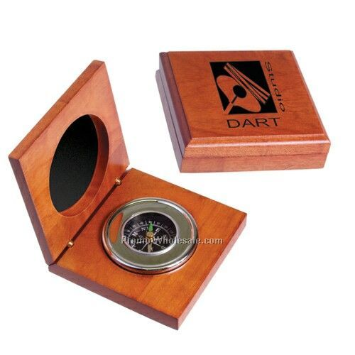 "3-1/2""x3-1/2""x1"" Executive Compass In Wood Box - Printed"