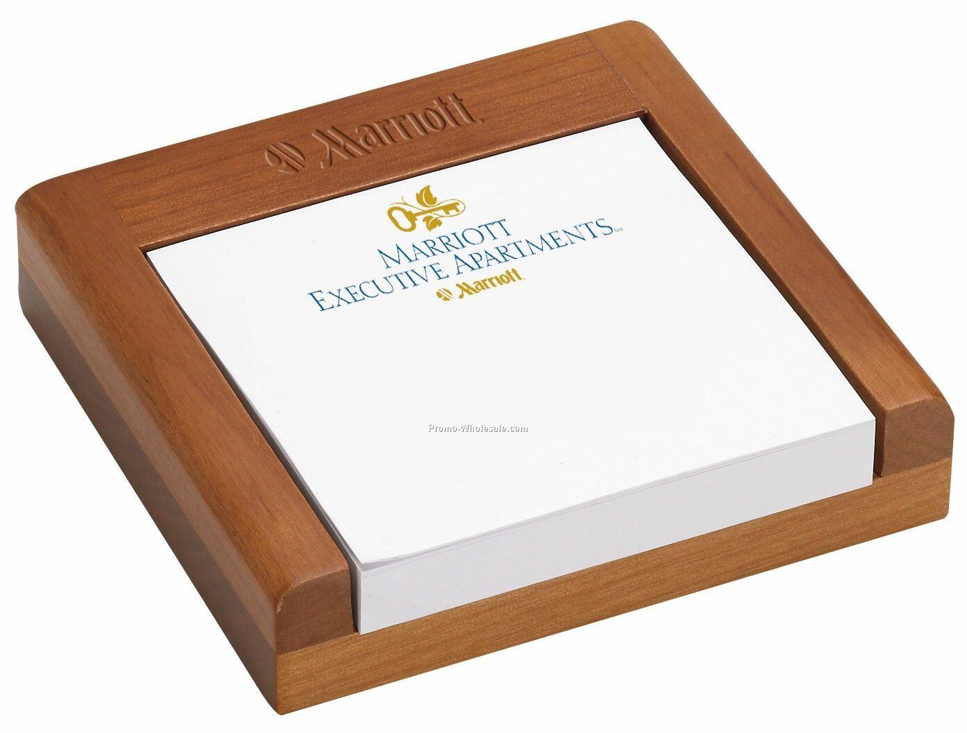 "3""x3"" Club Level Wood Note Holder & Notepad (100 Sheet ..."