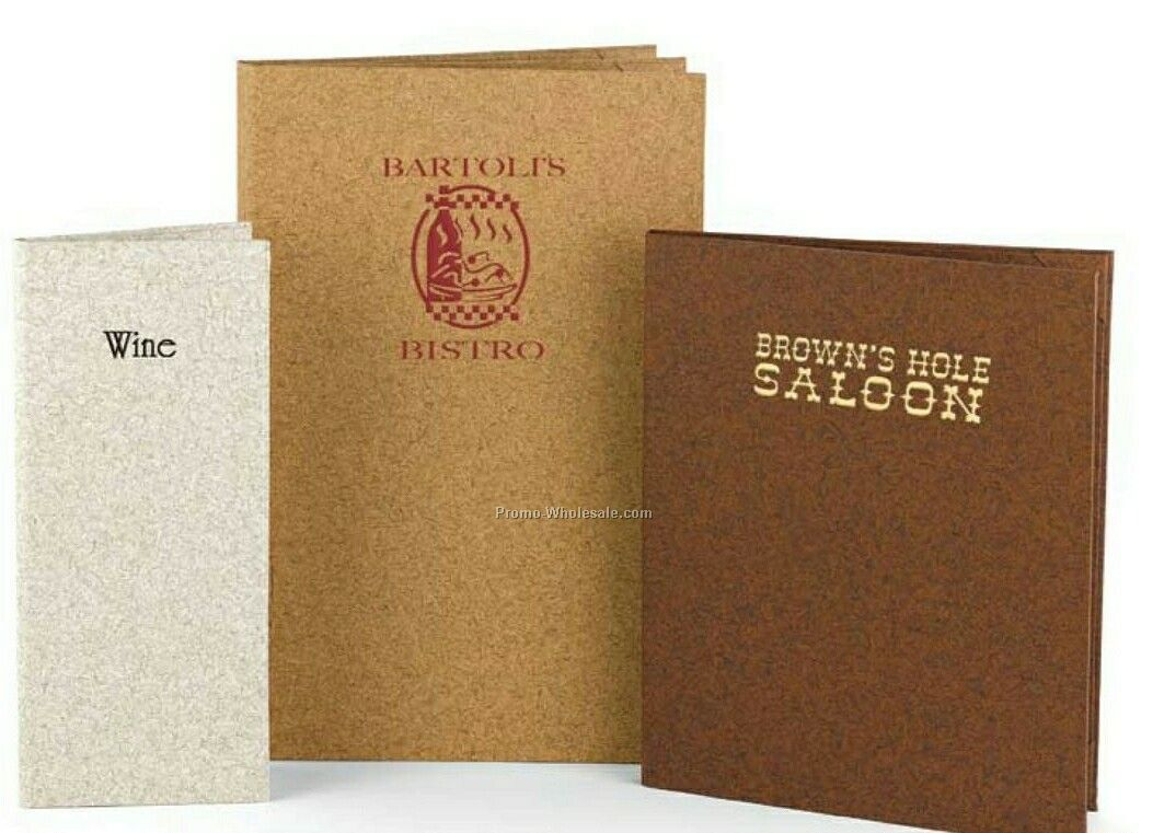 "4 View Book Style Cork Menu Cover (8-1/2""x14"")"