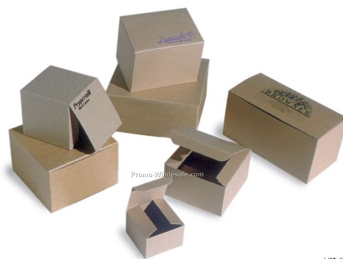 "6""x6""x4"" Natural Kraft Pinstripe Gift Boxes"