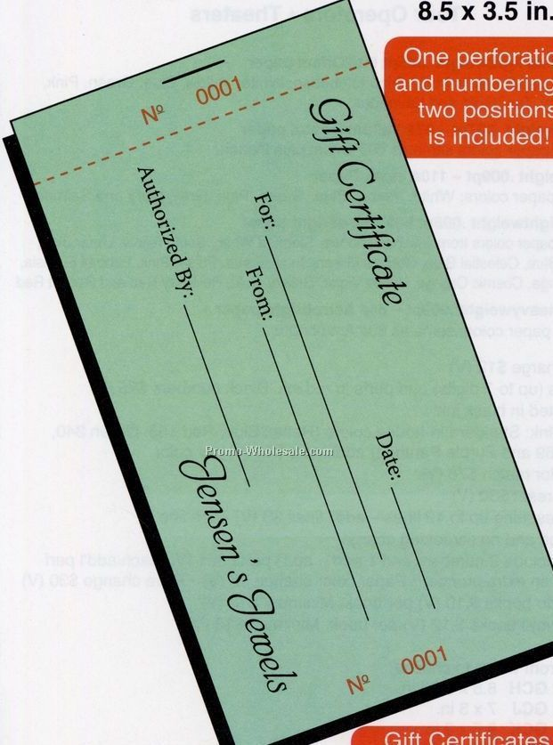 8 1 2x3 2 67 Bristol Gift Certificate With Stub