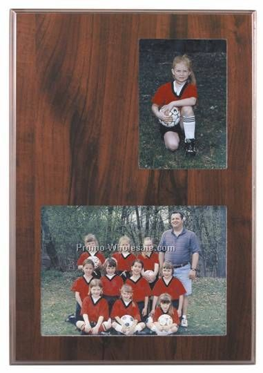 "9"" X 13"" Slide-in Frame Cherry Finish Plaque With 2 Windows"