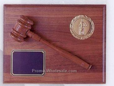 """9""""x12"""" Genuine Walnut 2"""" Stamped Medallion Insert Gavel Plaque"""