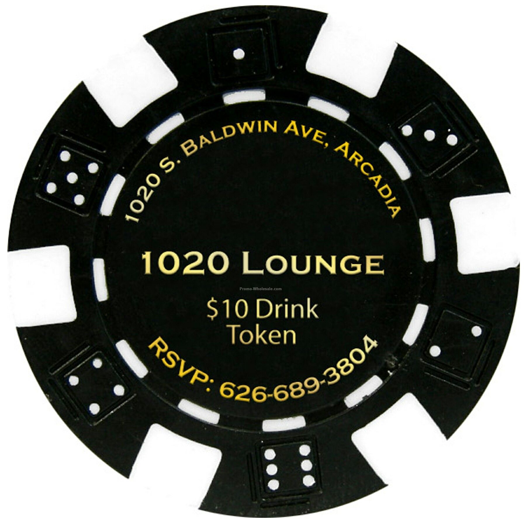 Dice Style Poker Chip Business Card - 2 Side Imprint