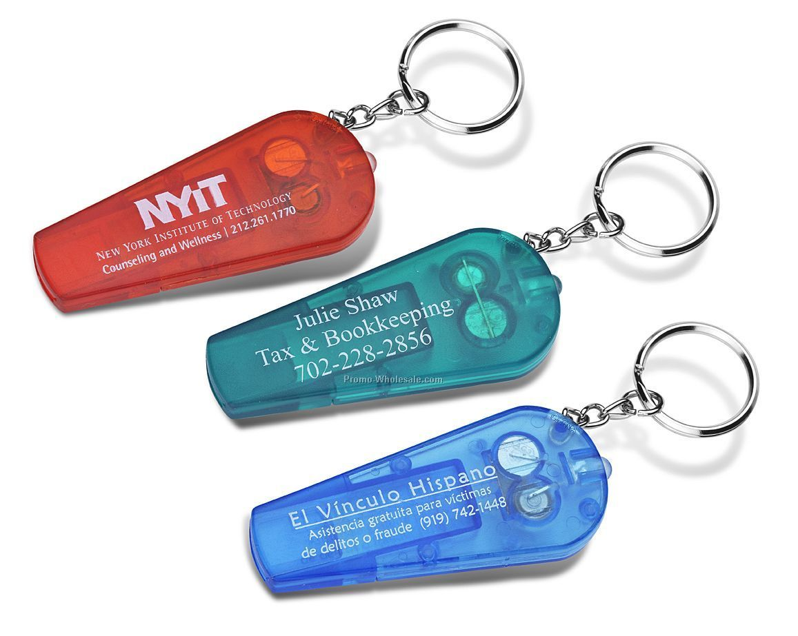 Flashlight Whistle Keychain