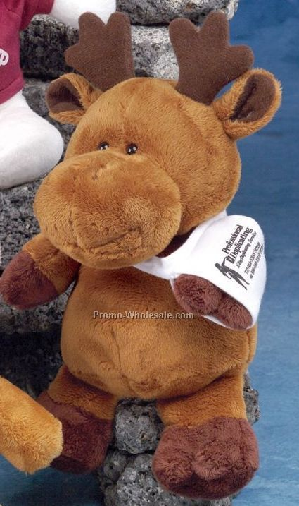"Pudgy Plush Stuffed Dark Brown Moose (9"")"