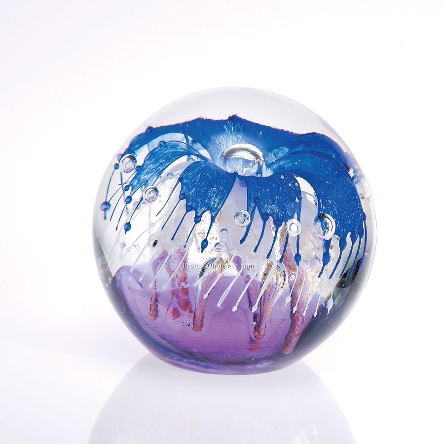 Round Art Glass Paperweight W Flower Insidewholesale China