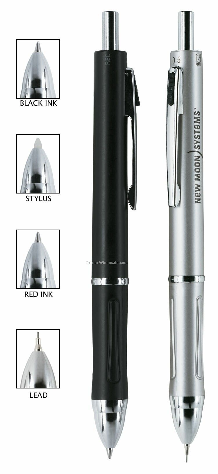 Silver 4-in-1 Creighton Ballpoint Pen/ Pencil/ Stylus