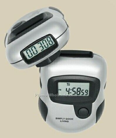Silver Digital Pedometer W/ Twin Lcd Readout And Stopwatch - 3 Day Service