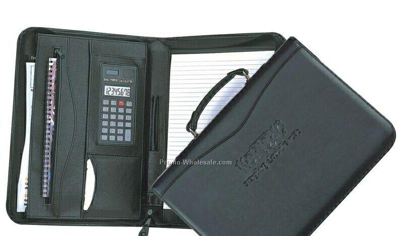 Simulated Leather Executive Zip Carry Portfolio