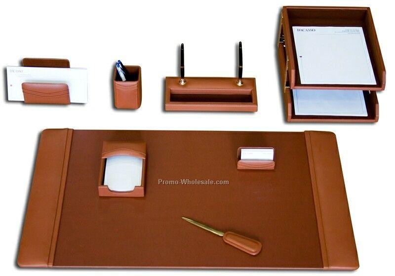 10-piece Classic Leather Desk Set - Tan