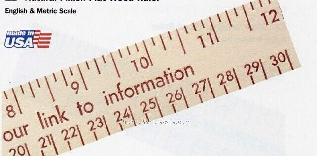 "12"" Natural Finish Flat Wood Ruler - Standard Delivery"
