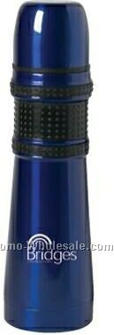 18 Oz. Metallic Blue Rubberized Grip Flask