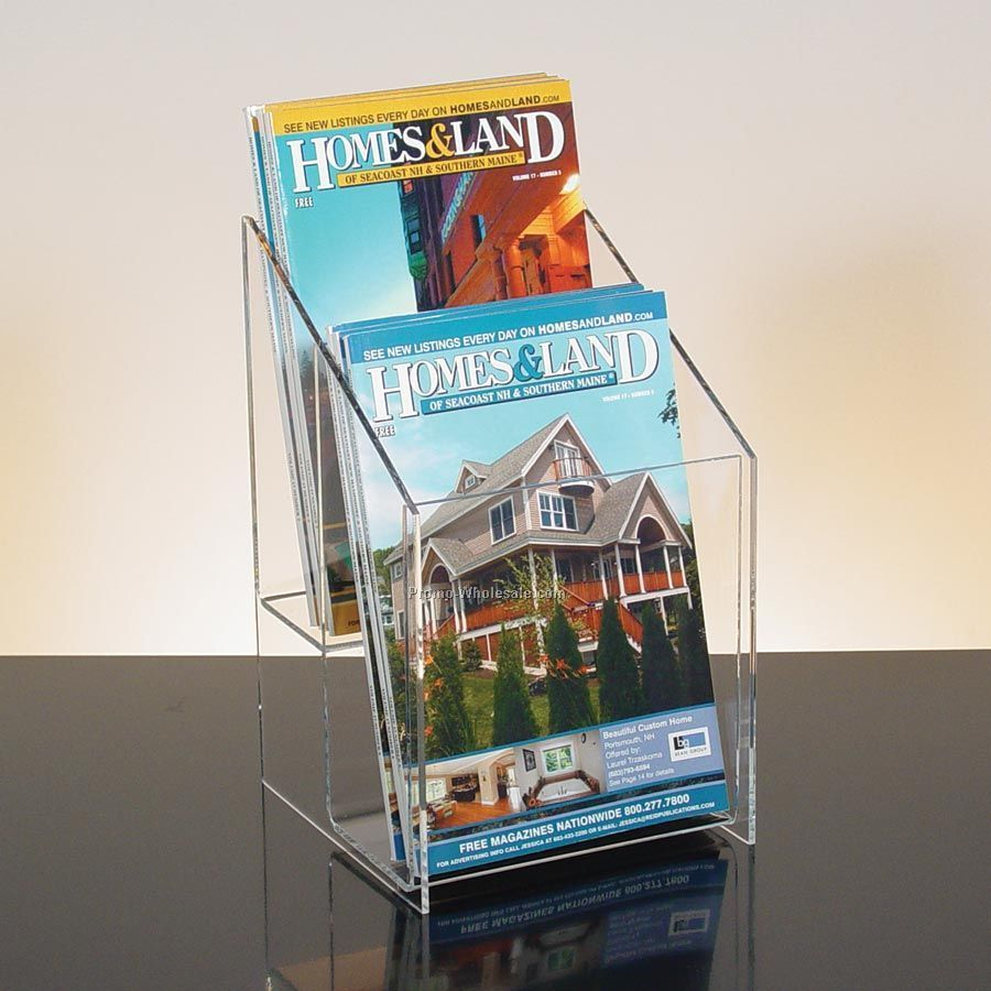 2-pocket Clear Acrylic Digest Size Literature Holder - Countertop