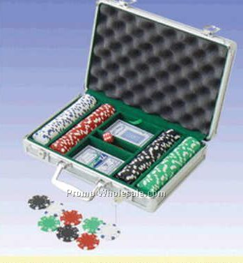 200 Piece Suit Poker Chips W/ Aluminum Poker Set (Engraved)