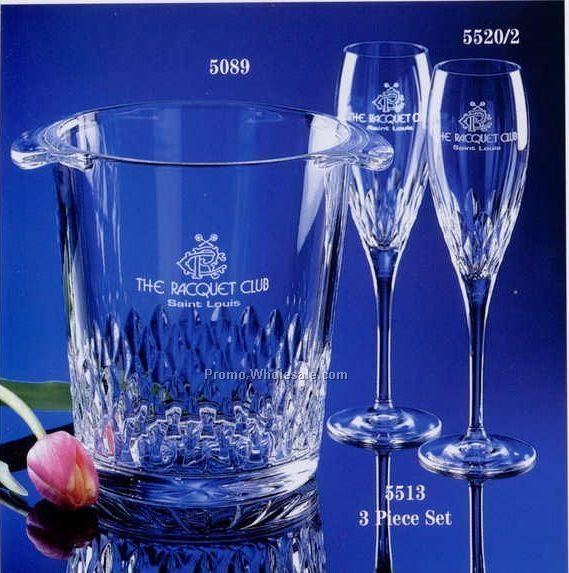 3 Piece Crystal Lotus Ice Bucket And Flute Set