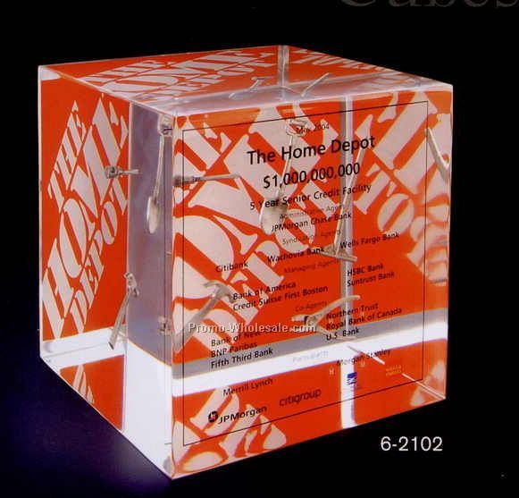 "4""x4""x4"" Acrylic Cube Paper Weight Award"
