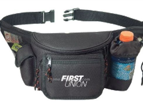 7 Zipper Fanny Pack W/ Bottle Holder/ Cell Phone Pouch/ Front Flap