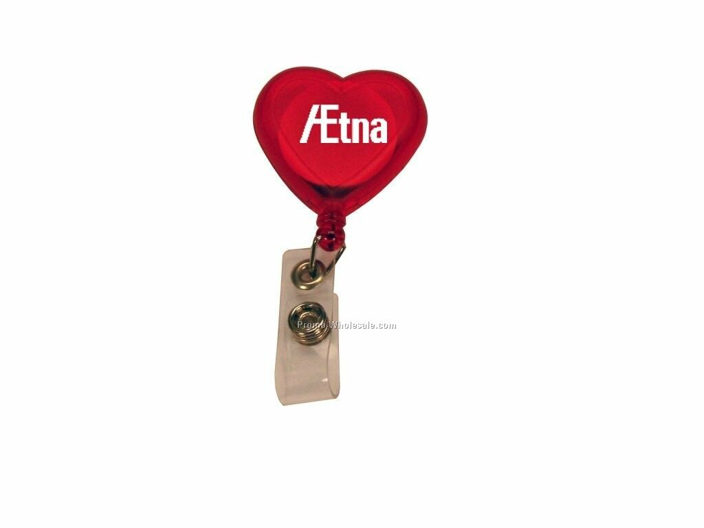 Heart Shape Retractable Badge Holder With Metal Belt Clip