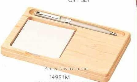 Maple Memo Holder With Pen Slot
