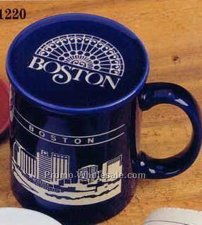 Maroon Skyline Landmark Ceramic Mug Coaster Cover Set