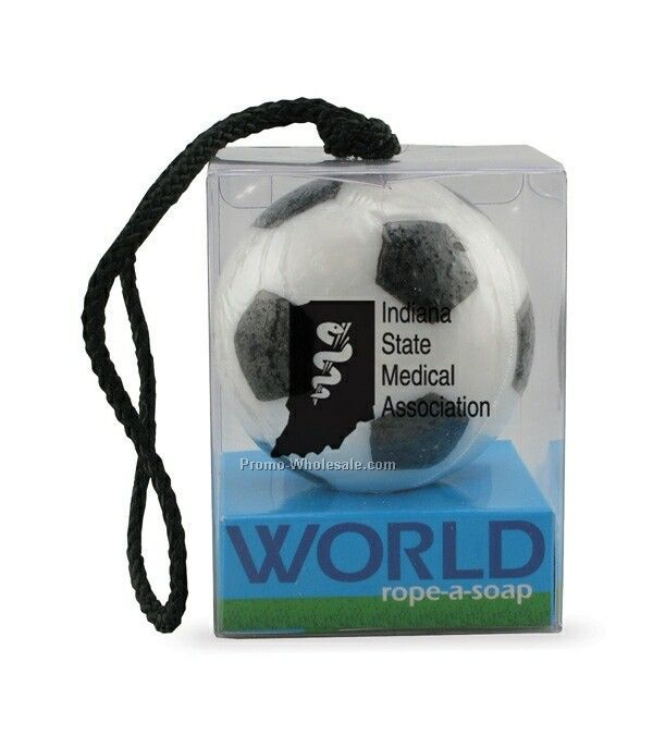 Sportz World Soap On A Rope - Soccer Ball