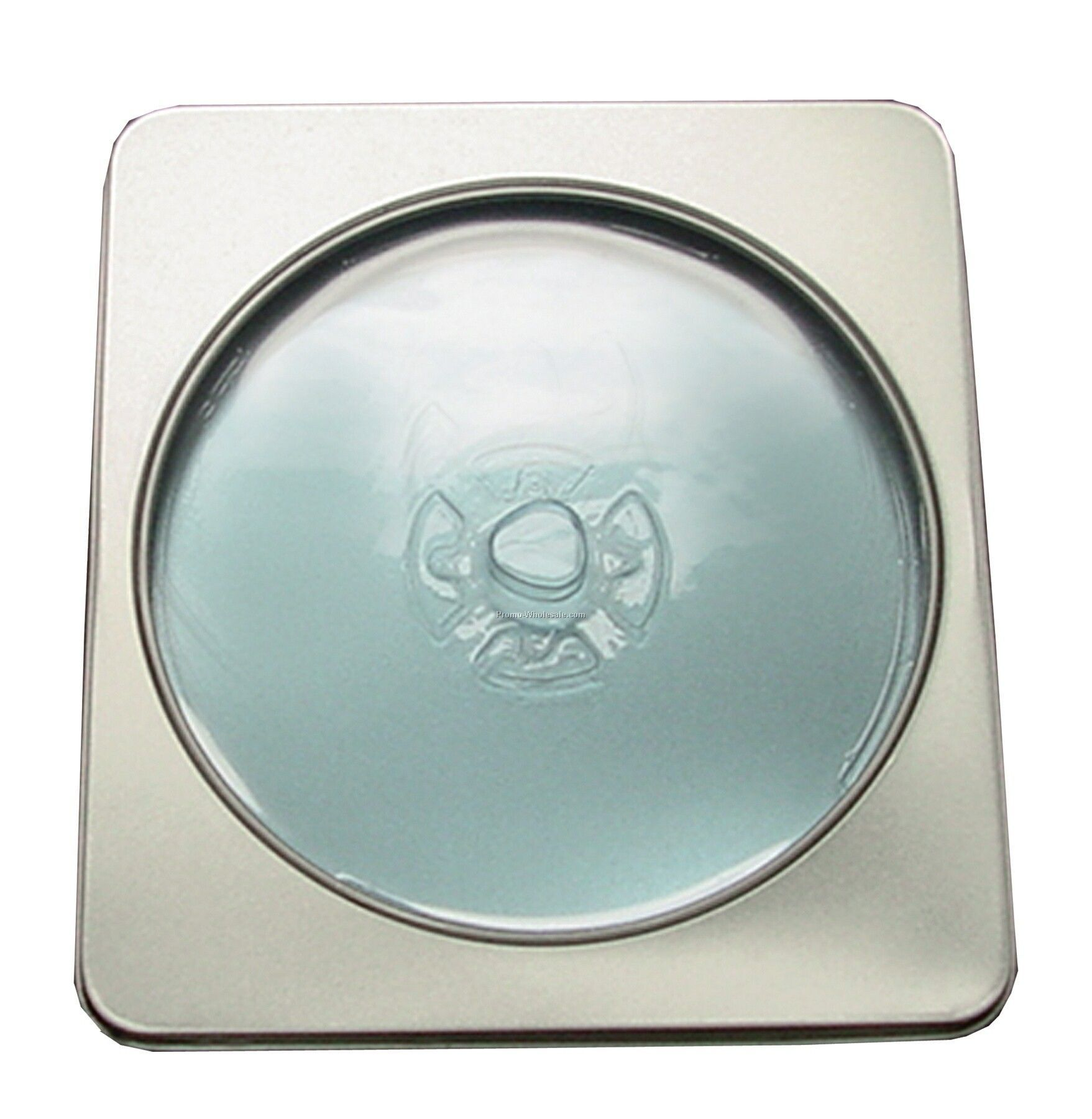 Square Tin Disc Case W/ Window