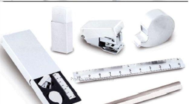Stainless Steel 5 PC Set W/ Ruler, Stapler, Tape Dispenser, Pencil & Eraser
