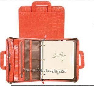 Sunset Italian Leather Zip Binder W/ Drop Handles