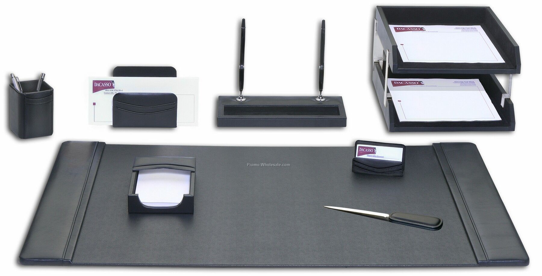 Leather desk accessories - 10 Piece Classic Leather Desk Set Black