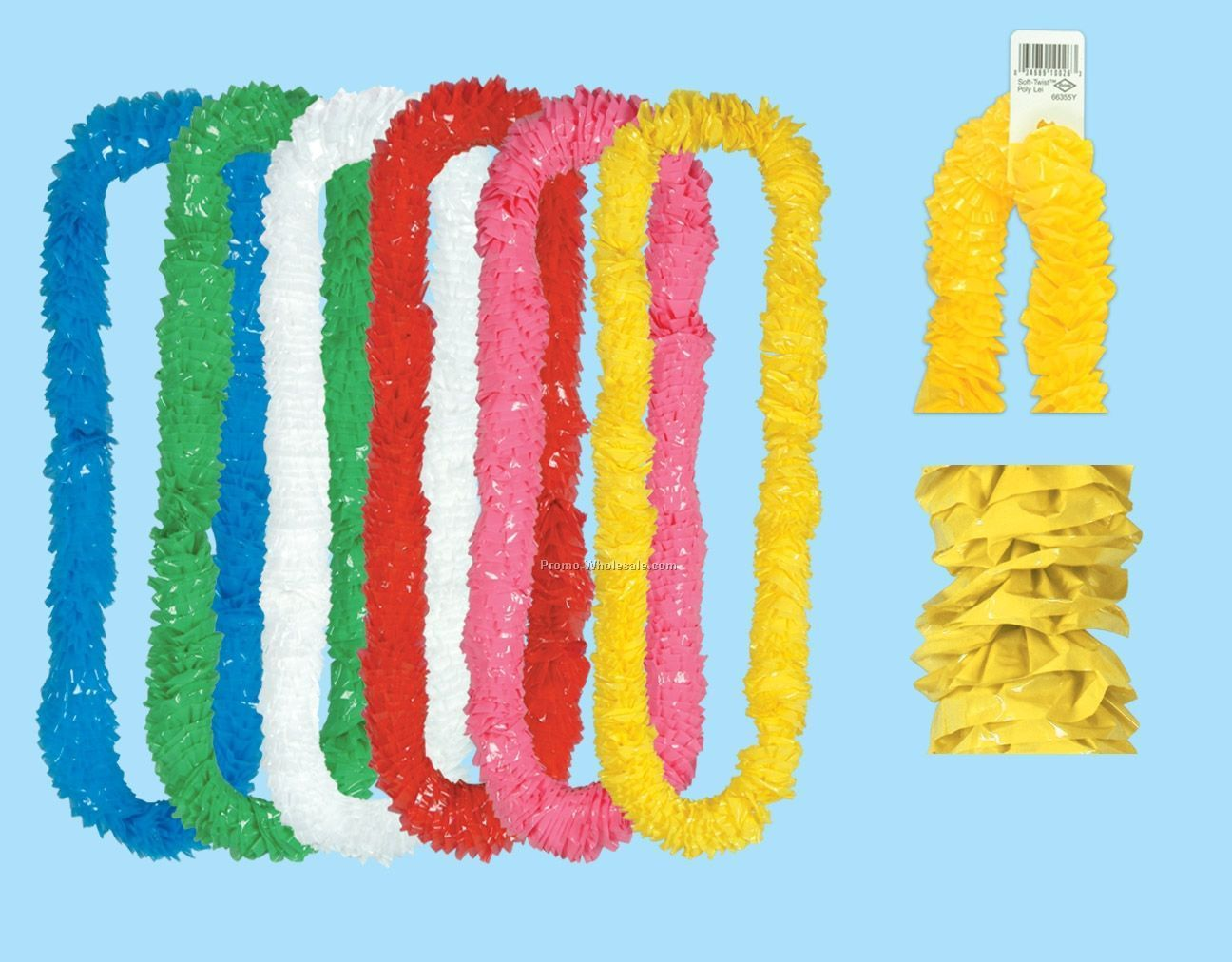 "2-1/4""x36"" Assorted Soft Twist Poly Leis W/ Upc Tab (72 Pieces)"