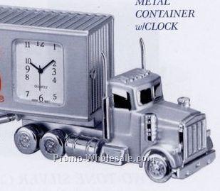 "5-3/4""x1-1/4""x2-1/4"" Metal Container Truck Clock"