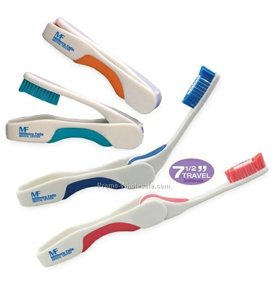 "7-1/2"" Pop Up Travel Toothbrush - Blue"