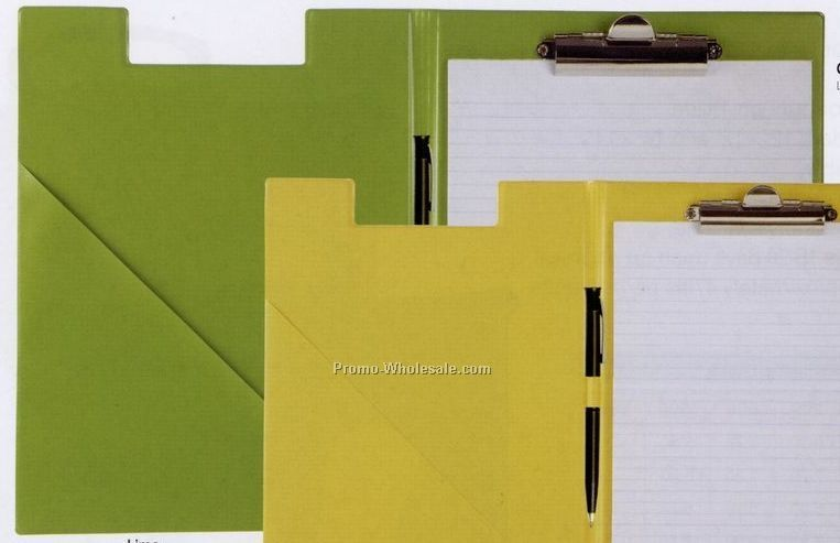 "8-1/2""x11"" Vinyl Clipboard W/ Slant Pocket/ Note Pad/ Pen Loop"