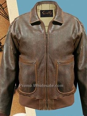 Vintage Brown Leather Bomber Jacket - JacketIn