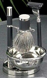 Badger Brush, Mach 3 Razor/Soap Dish On Stand - Black Silver Plated