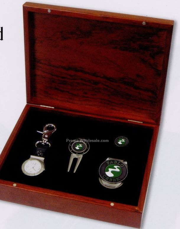 Custom Rosewood Gift Set (Watch/ Divot/ Money Clip/ Ball Marker)