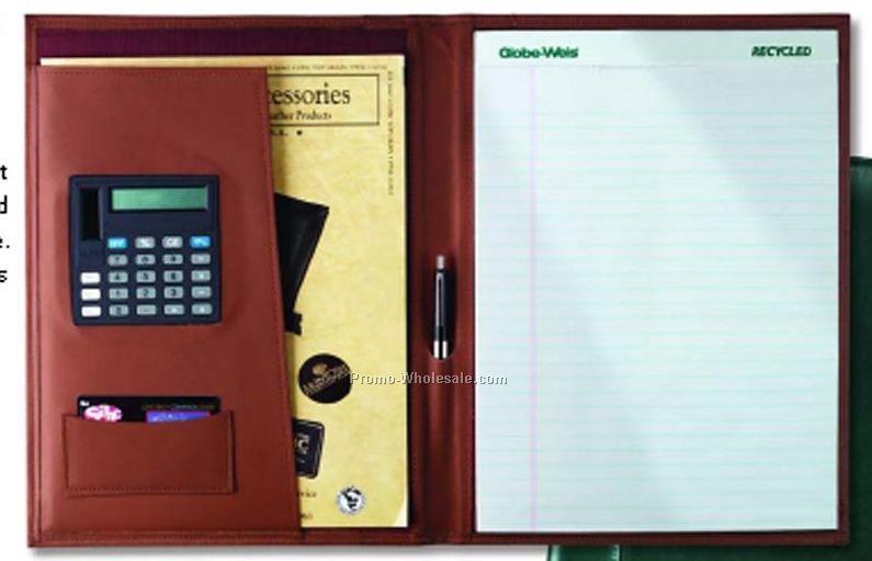 executive business portfolio w calculator top grain cowhide