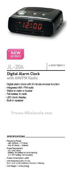jwin digital alarm clock w am fm radio wholesale china. Black Bedroom Furniture Sets. Home Design Ideas