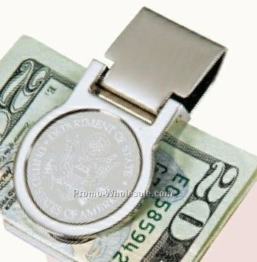 "Round 3d Mirror Etched Chrome Money Clip /1-1/4""x2-1/4""x1/4"""