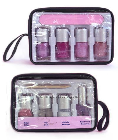 Set Of 4 Nail Polish With File In Clear Pouch