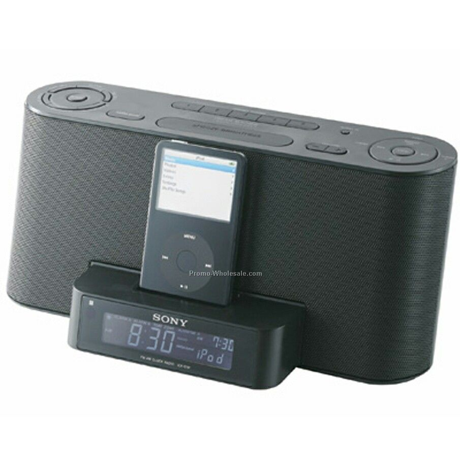 sony ipod dock with clock radio wholesale china. Black Bedroom Furniture Sets. Home Design Ideas