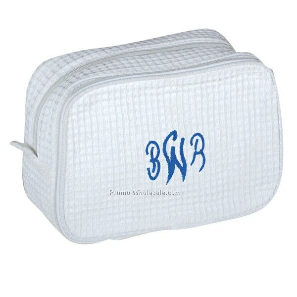 Waffle Cosmetic Bag (White & Colors) Embroidery