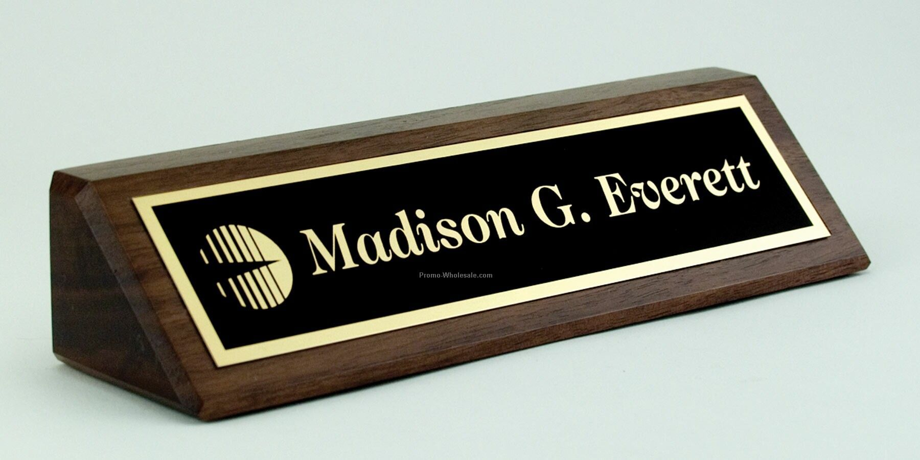 2 x 8 solid walnut desk nameplate with laser etched plate