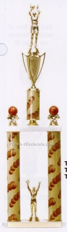 "26-1/2"" 2 Tier Sports Column Trophy (Basketball)"