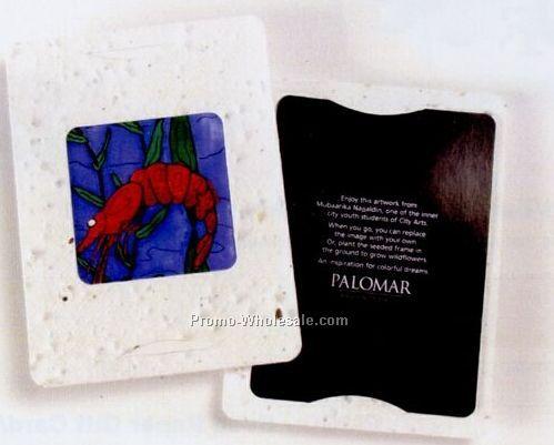 "4""x5-1/4"" Custom Plant Me Postcard W/ Seed Paper Frame W/ Square Window"