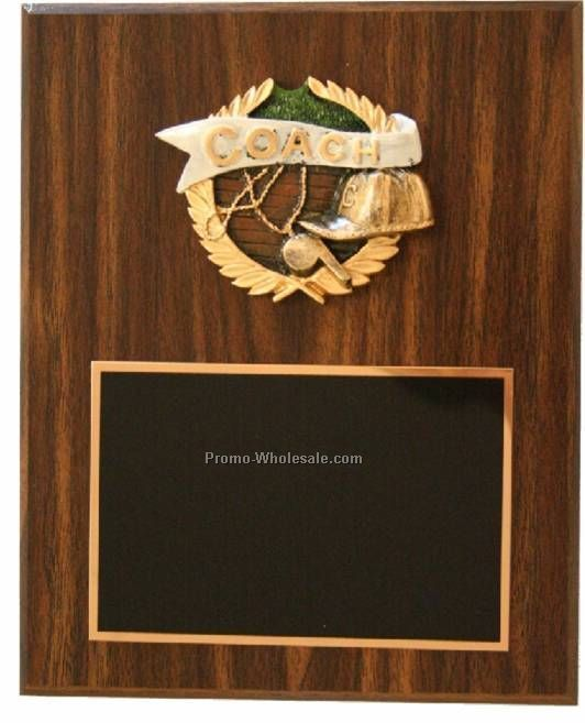"7"" X 9"" Walnut Finish Plaque W/ Le Plate & Raised Resin Mount"