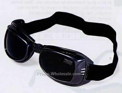 Black/ Blue Foldable Frame Goggles W/ Shock Absorbent Guard