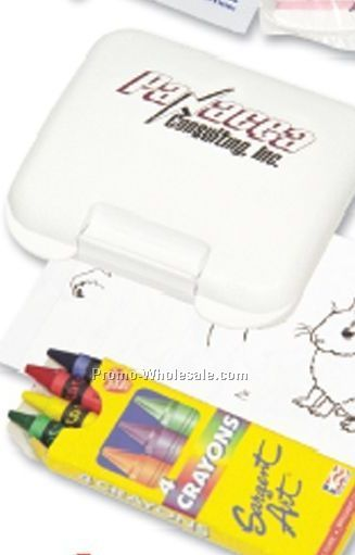 Children's Coloring Kit In Plastic Pocket Tote
