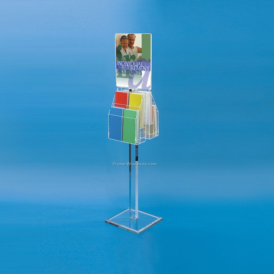 Literature Display Stand With Sign Holder & Adjustable Pockets